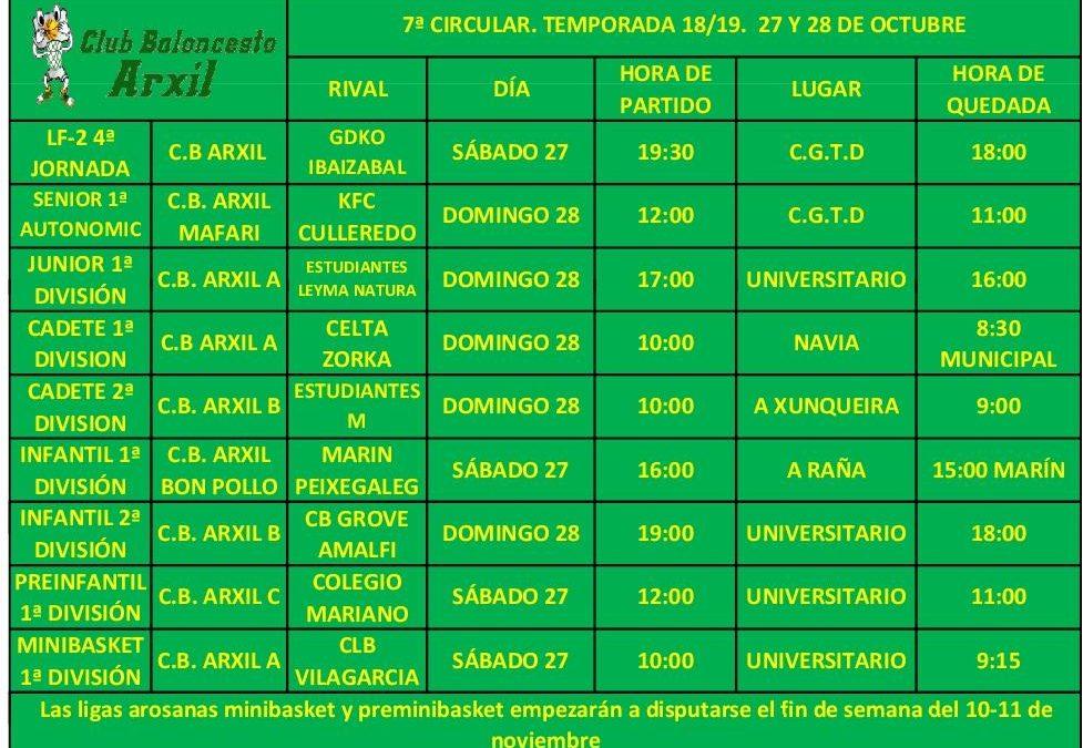 7ª CIRCULAR – 27 Y 28 DE OCTUBRE – TEMPORADA 18/19