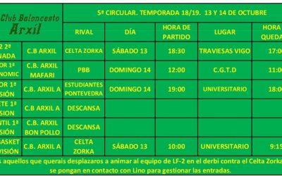 5ª CIRCULAR. TEMPORADA 13 Y 14 DE OCTUBRE