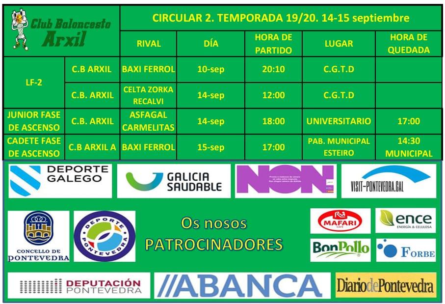 CIRCULAR 2. TEMPORADA 19/20    14/15 SEPTIEMBRE